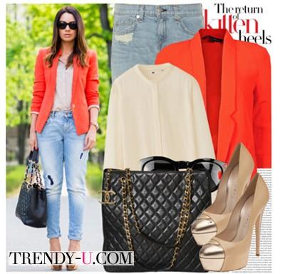Оранжевый пиджак и рваные джинсы-бойфренды