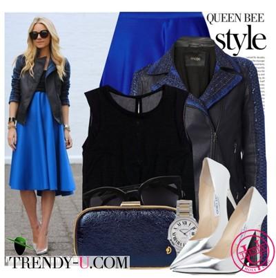 Синяя пышная юбка и кожаный жакет