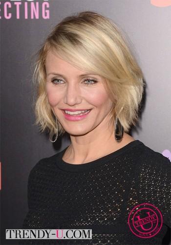 Прическа для волос средней длины для 40-50-летних женщин: Камерон Диаз