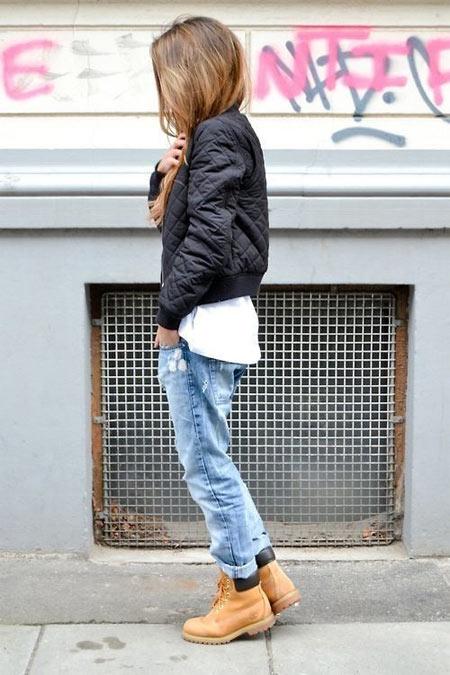 Синие джинсы и тимберленды