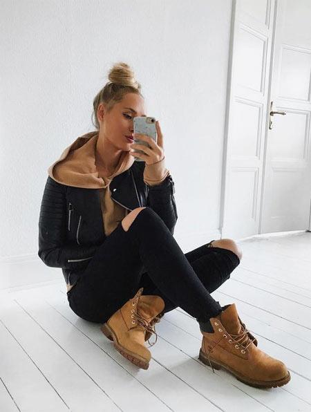 Тимберленды и джинсы скинни черные