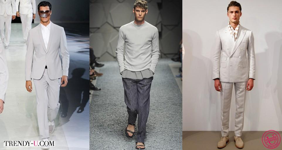Мужские модные летние костюмы серого цвета весна-лето 2014