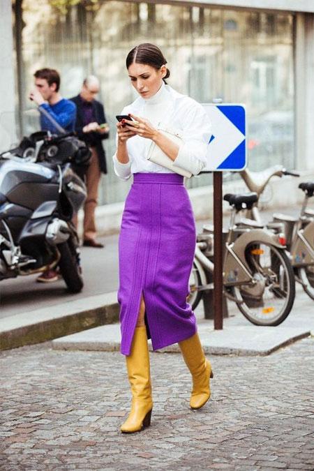 Фиолетовая юбка с завышенной талией