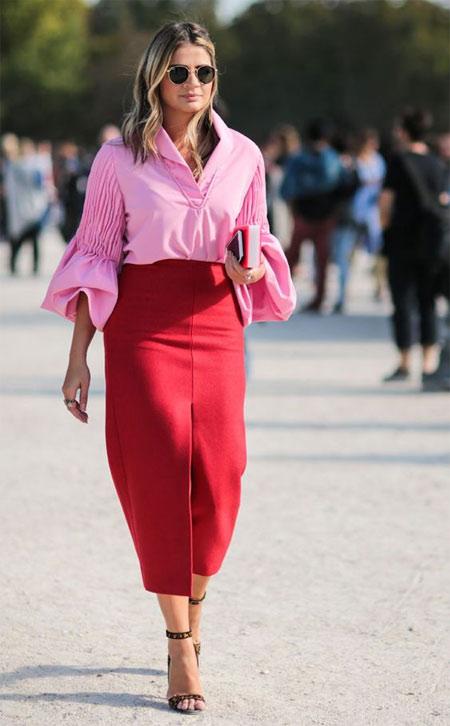Красная юбка - розовая блузка