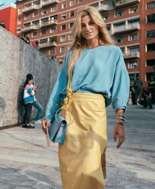 Юбка-карандаш желтого цвета. Milan Fashion Week