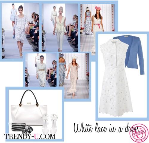 Кружевное белое платье и блейзер