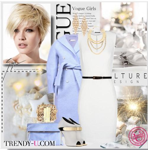 Белое платье и фиалкового цвета пальто