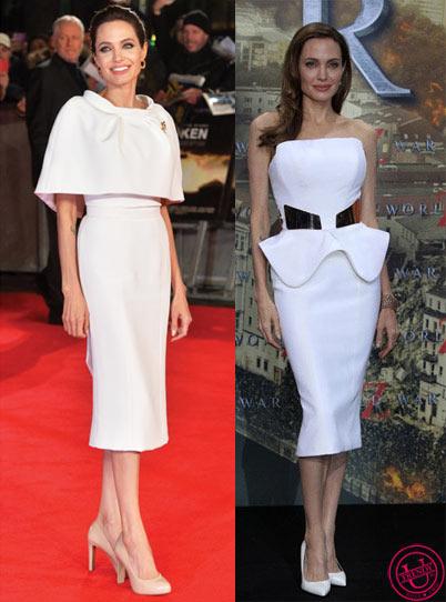 Белые платья на Анжелине Джоли