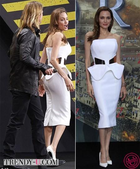 Анджелина Джоли в белом платье с баской