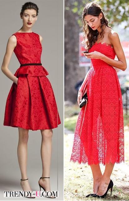 Красное кружевное платье и сарафан