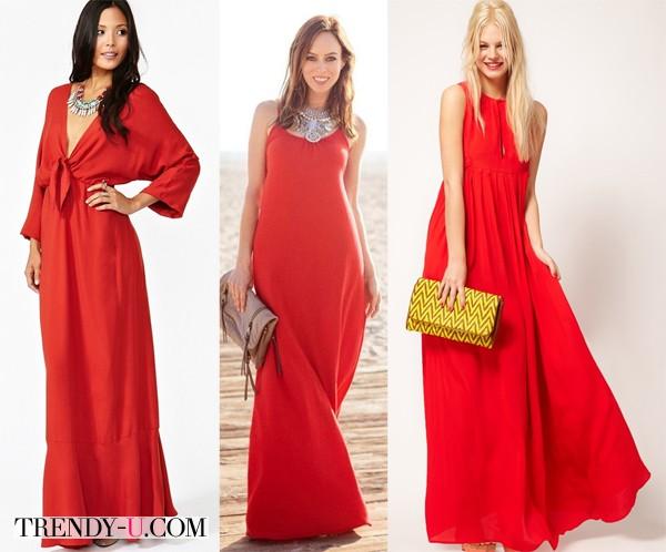 Летнее красное платье в пол и аксессуары