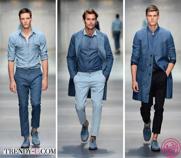 Модная мужская одежда из денима от Ermanno Scervino весна-лето 2014