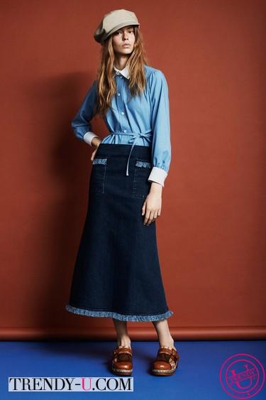 Джинсовая юбка и рубашка 2014 Louis Vuitton 2014