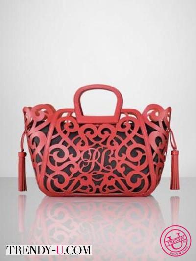 Модная кожаная сумка с перфорацией от Ralph Lauren 2014