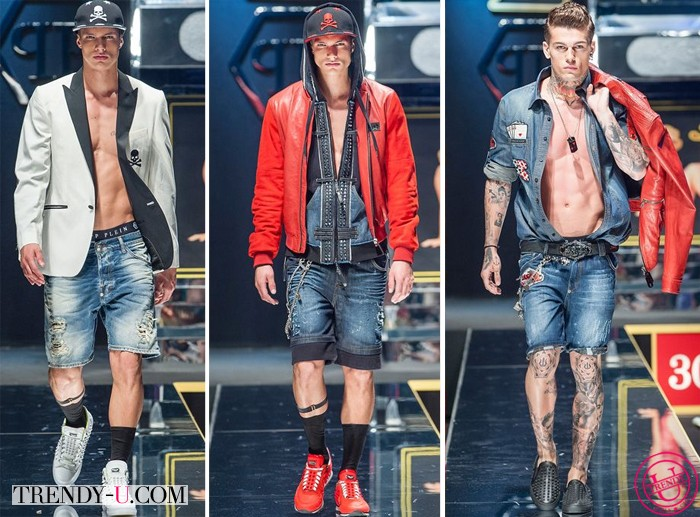 Мужские рваные шорты Philipp Plein SS 2014