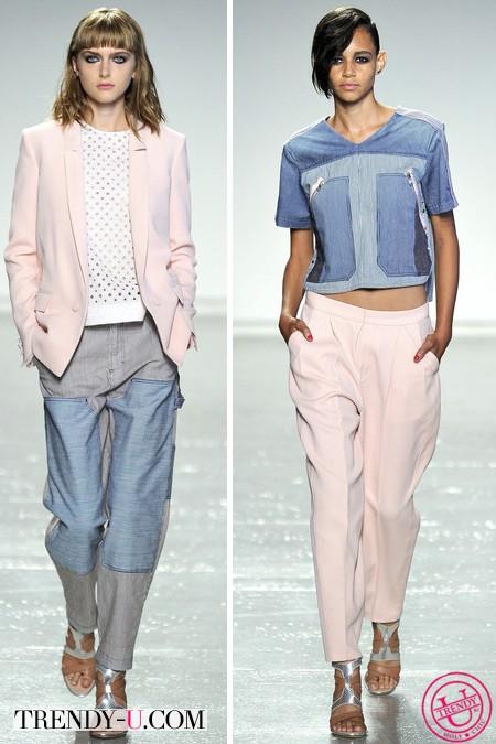 Rebecca Taylor весна-лето 2014, модные джинсы и топ из денима