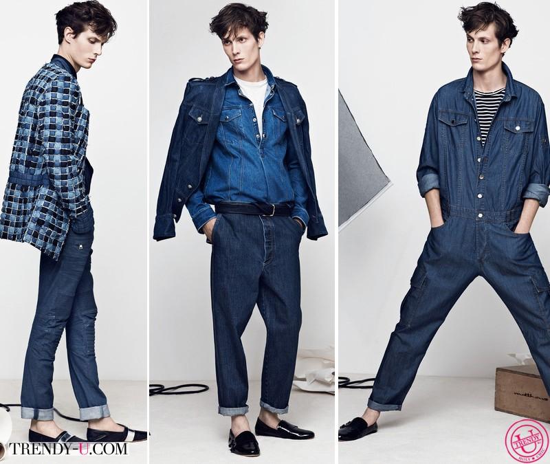 Модная мужская одежда из денима Balmain весна-лето 2014