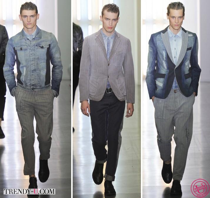 Модные мужские джинсы, куртка-бомбер и пиджак из денима весна-лето 2014 Diesel Black Gold