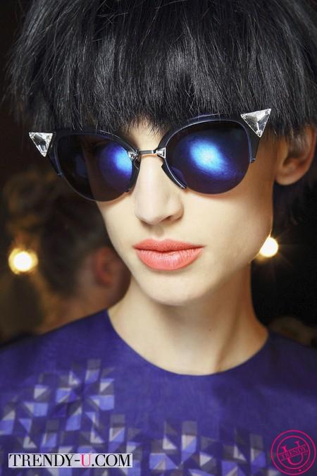 Стильный лук 2014: прическа, помада, очки