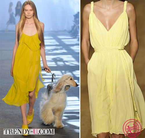 Желтые сарафаны от Jen Kao Primavera и Tom Hilfiger 2014