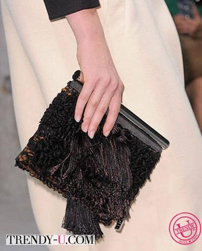 Черный клатч с бахромой Proenza Shouler 2014
