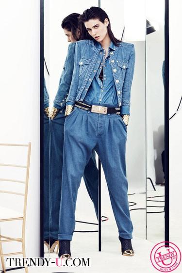 Модный джинсовый костюм Balmain Resort 2014