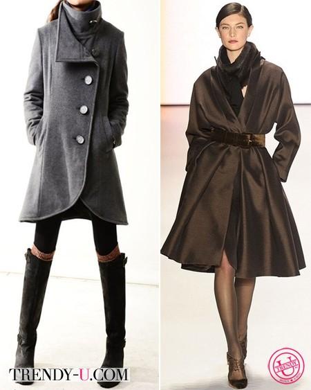 """Пальто для девушки и женщины с фигурой """"перевернутый треугольник"""""""