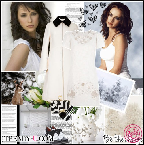 Белое платье с кружевом и белое пальто