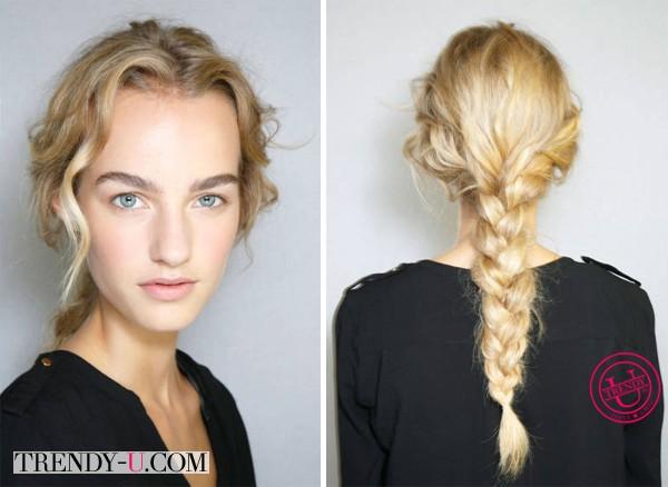 Модная прическа 2014 на длинные волосы на модели