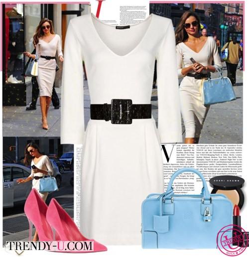 Модель Миранда Керр в белом платье