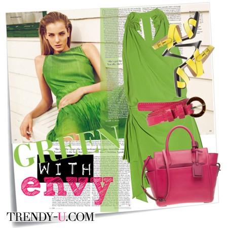 Салатовое платье и пурпурный
