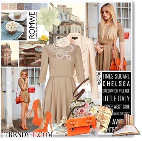 Бежевое платье - оранжевые аксессуары