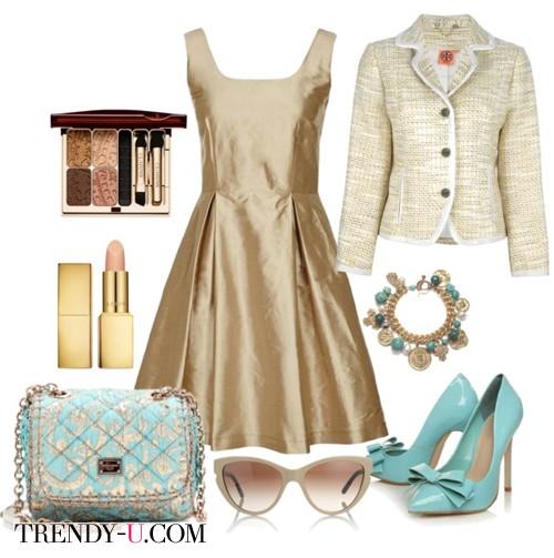 Бежевое платье с золотистым напылением и аксессуары