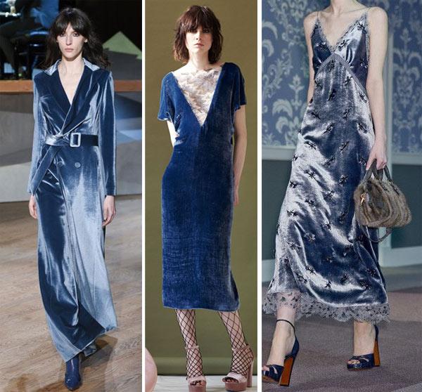 бархатные платья голубого и синего цветов