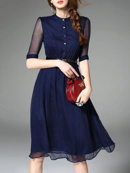 Синее шифоновое платье