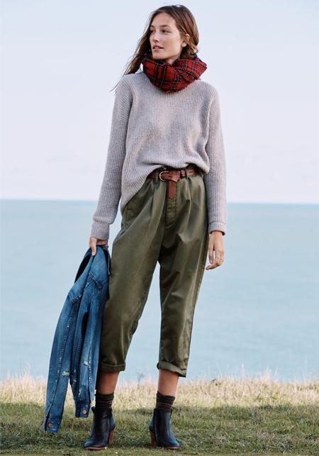 Модный look 2016: чиносы с завышенной талией, клетчатый шарф, серый свитер