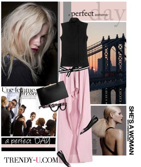 Розовая юбка в пол и черный топ
