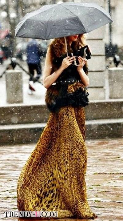 Длинная юбка с тигровым принтом