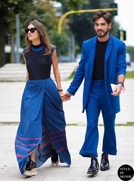 Длинная юбка синего цвета