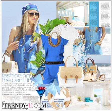 Голубое платье и аксессуары