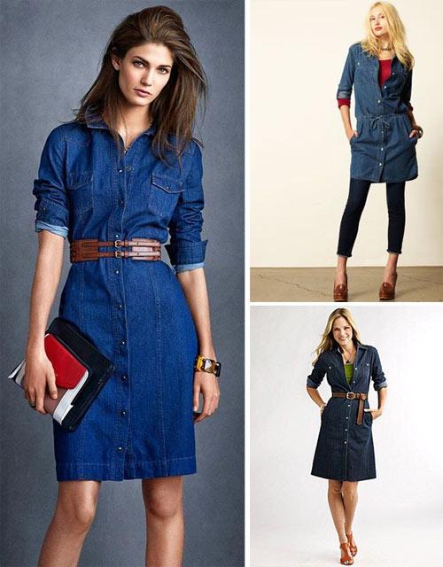 Синее джинсовое платье-рубашка: с чем носить