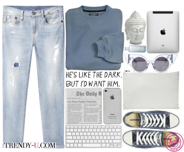 Кеды Конверс и рваные джинсы