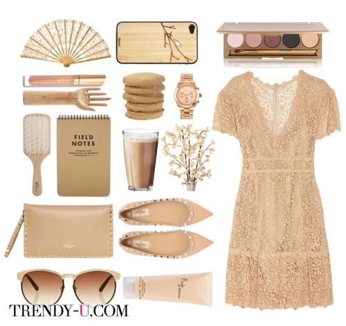 Бежевое кружевное платье