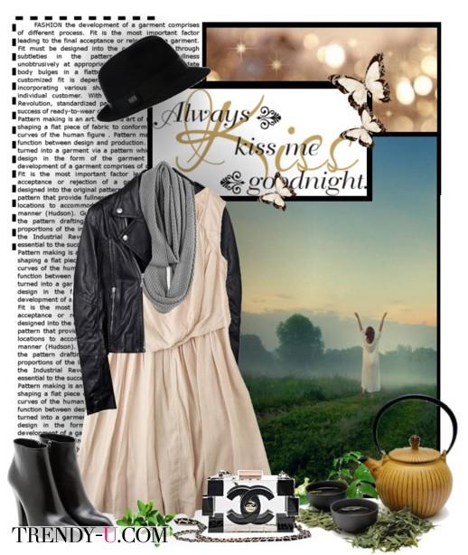 Бежевое платье и кожаная куртка