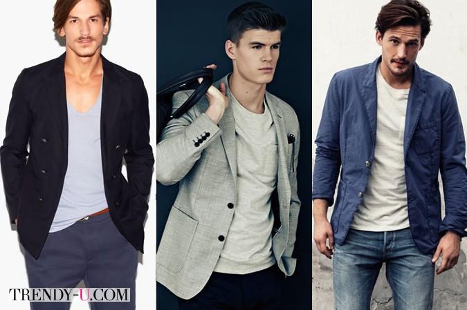 Мужские футболки в сочетании с пиджаком