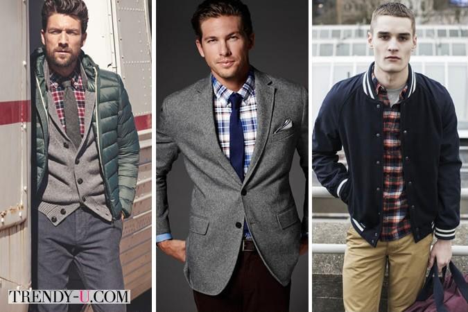Клетчатая рубашка в сочетании с курткой и пиджаком
