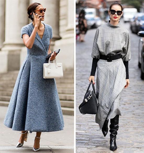 Уличные модные выбирают платья миди серого цвета