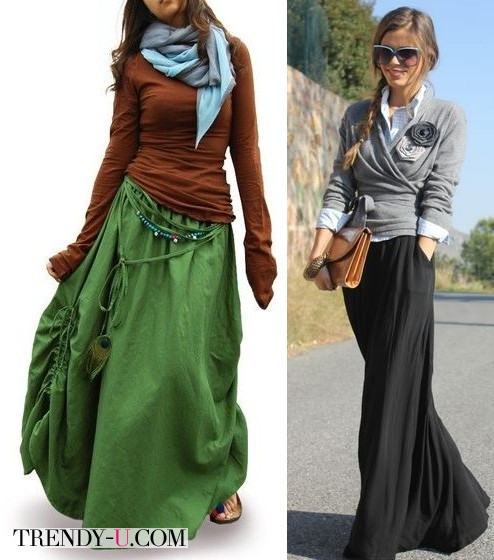 Стильные макси-юбки