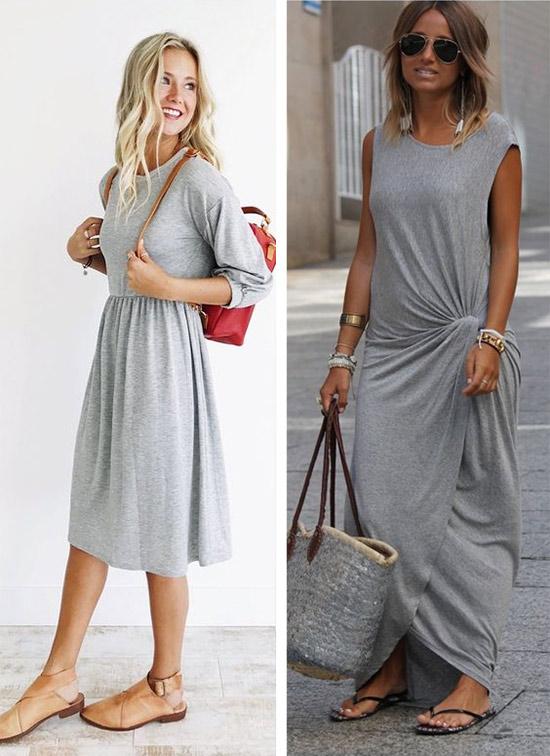 Серое платье летом