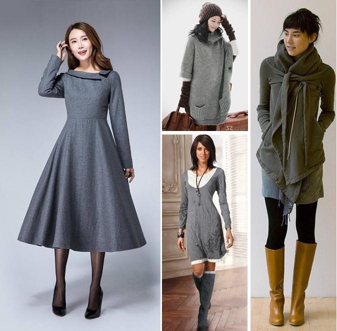 Образы в повседневном стиле: серое платье - черные колготы